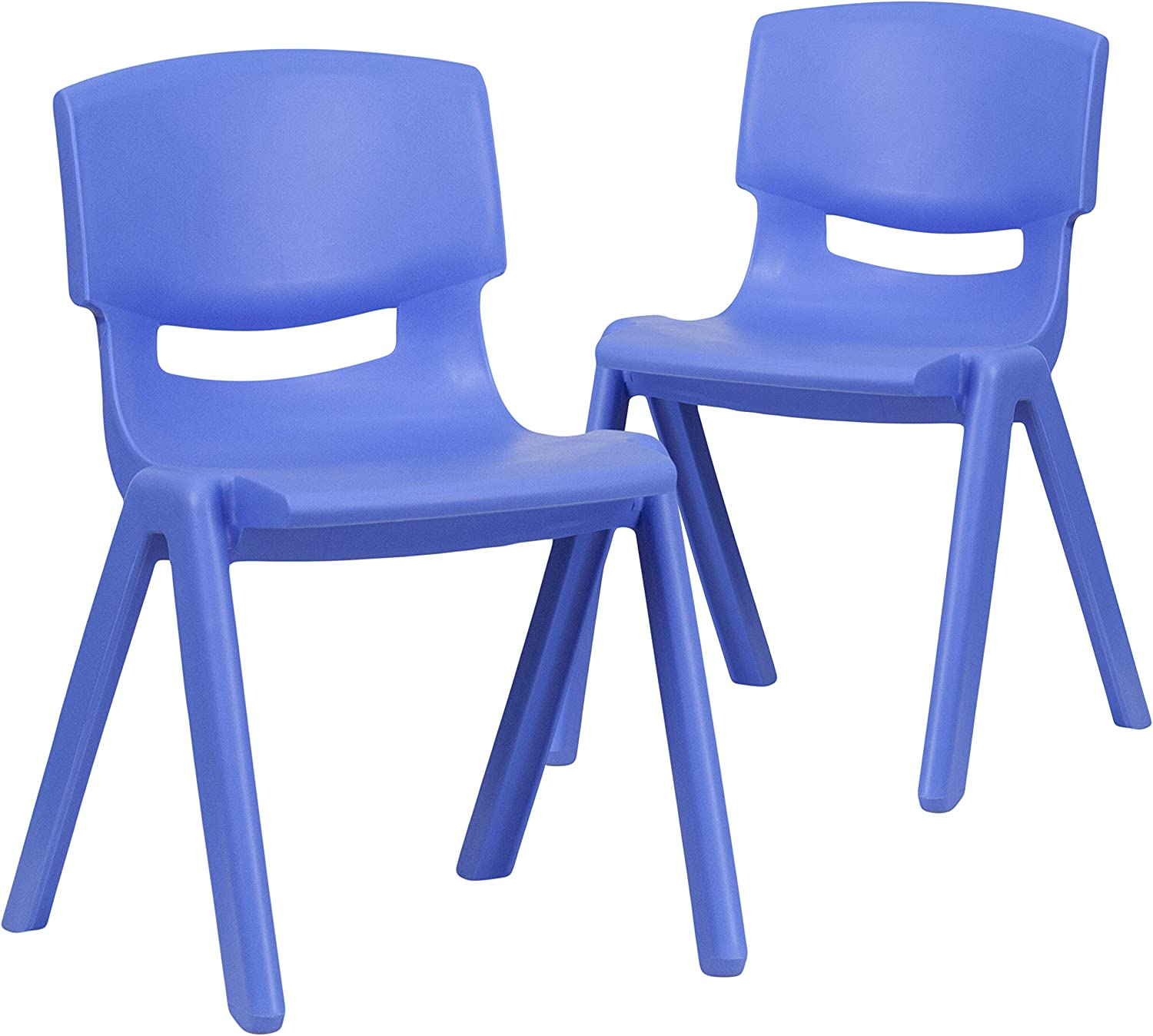"""Flash Furniture 2 Pack Blue Plastic Stackable School Chair with 13.25"""" Seat Height"""