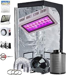 TopoGrow Grow Tent Kit Complete LED 300W Grow Light, 32