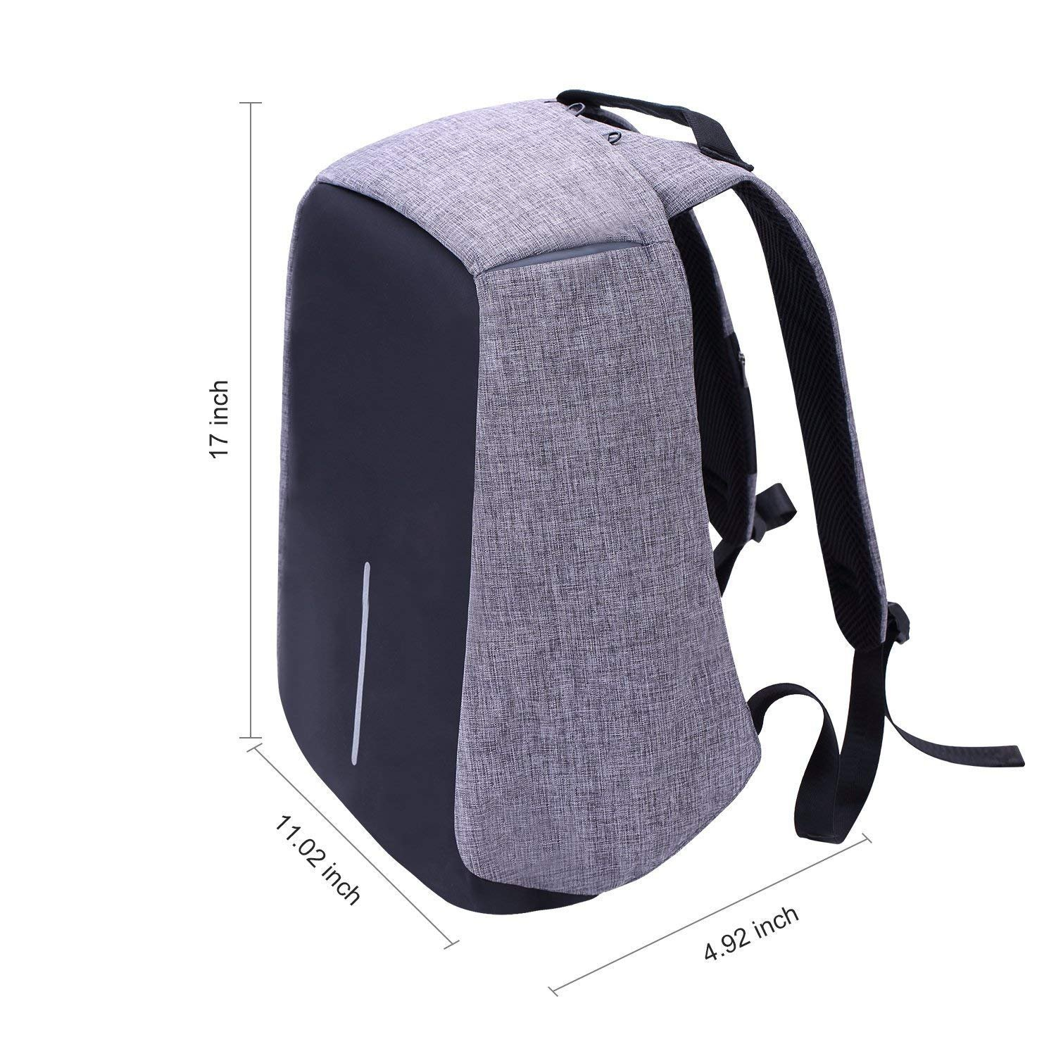 Laptop Backpack business anti-theft waterproof travel computer backpack with USB charging port college school computer bag for women & men fits 15.6 Inch Laptop and Notebook - Grey by Langus (Image #6)
