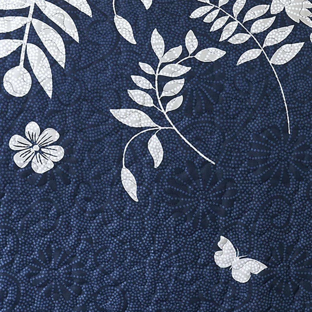 Wake In Cloud - Navy Blue Quilt Set, Gray Grey Floral Flowers Tree Leaves Modern Pattern Printed, Soft Microfiber Bedspread Coverlet Bedding (3pcs, King Size) by Wake In Cloud (Image #5)