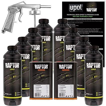 Bed Liner Spray >> U Pol Raptor Black Urethane Spray On Truck Bed Liner Kit W Free Spray Gun 8 Liters
