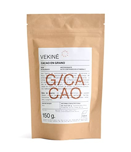 Granos de CACAO CRUDO Ecológicos 150 gr Organic Cacao Nibs SUPERALIMENTOS VEKINE Pepitas de Chocolate crudo