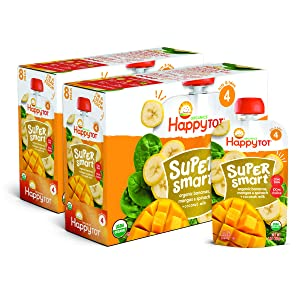 Happy Tot Organic Stage 4 Super Smart Organic Toddler Food Bananas/Mangos/Spinach Plus Coconut, 4 Ounce Pouch (Pack of 16) (Packaging May Vary)