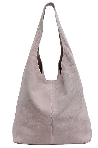 c5d67f76621c8 Damen Ledertasche Shopper Wildleder Handtasche Schultertasche Beuteltasche  WL818 (Altrosa)