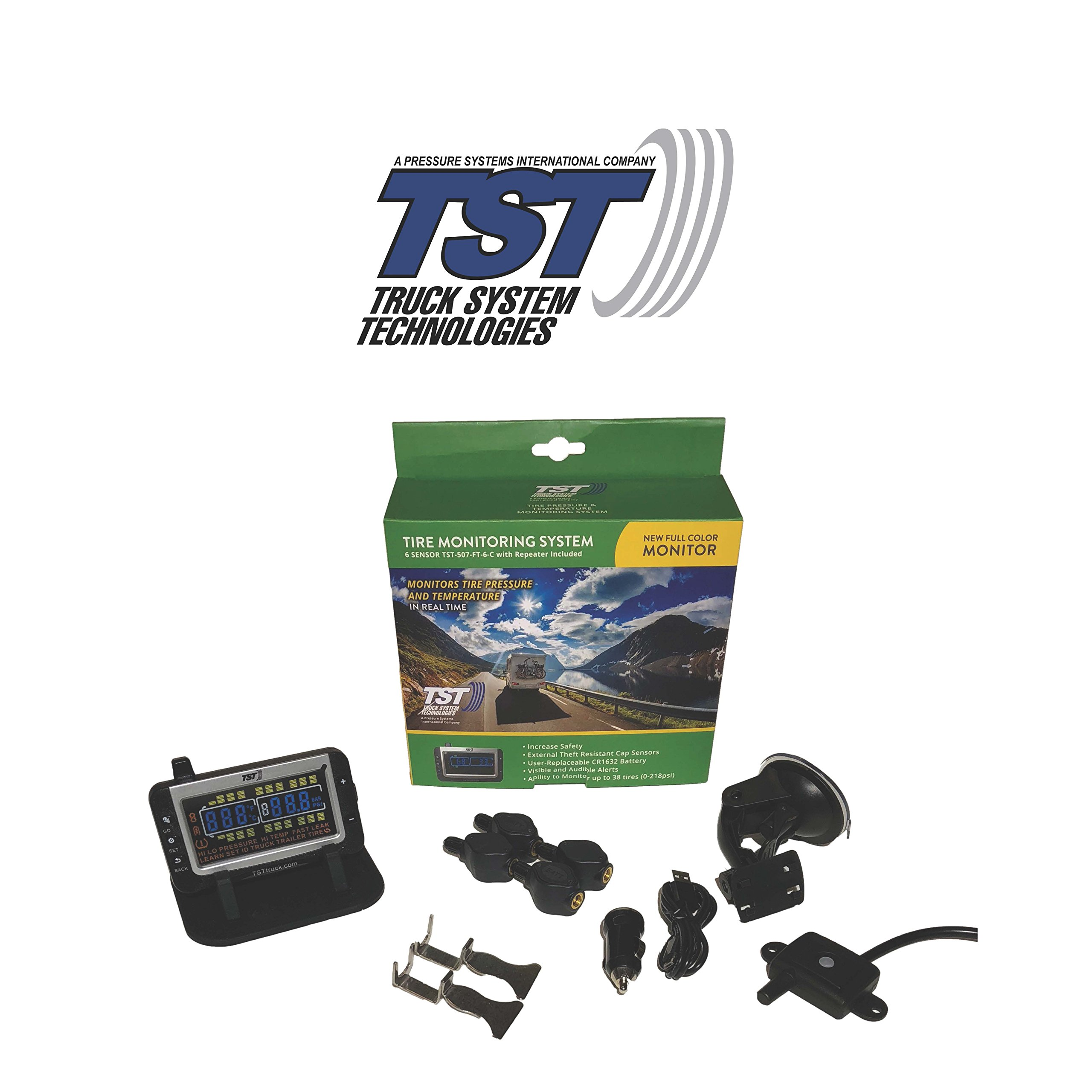 TST 507 4 Sensor Flow Through Tire Monitoring System with Color Display - Handles Multiple Trailers