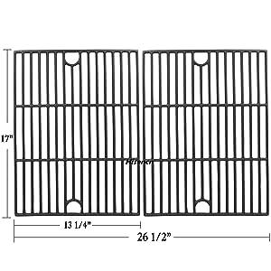 Hisencn Repair Parts Matte Porcelain Cast Iron Cooking Grids Replacement for Nexgrill 720-0670A, 720-0830H, 720-0670C, Uniflame GBC981, Kenmore 41516106210 415.16106210 Gas Grill Grates, 17 inch