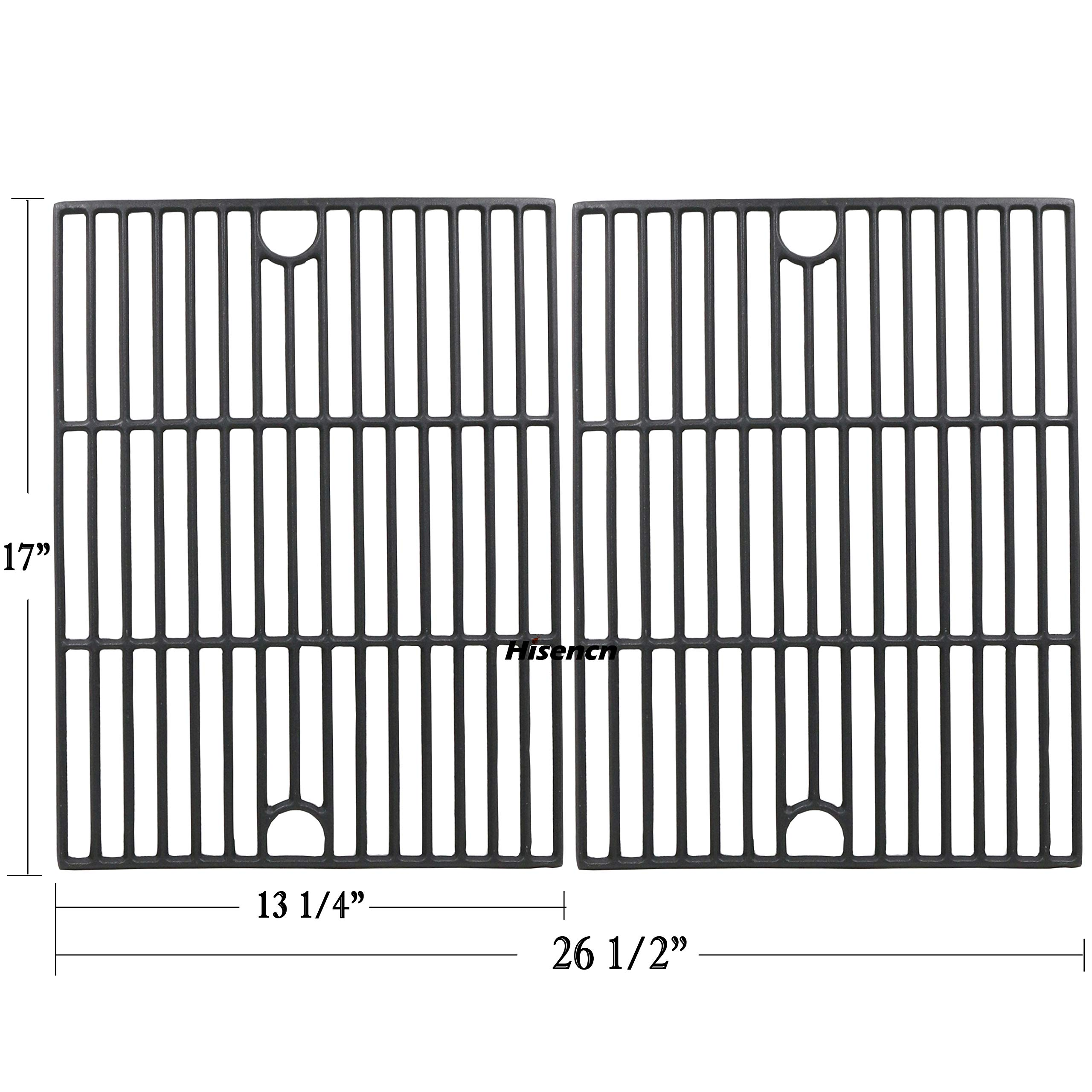 Hisencn Repair Parts Matte Porcelain Cast Iron Cooking Grids Replacement for Nexgrill 720-0888, 720-0670A, 720-0830H, Uniflame GBC981, Kenmore 41516106210 415.16106210 Gas Grill Grates, 17 inch