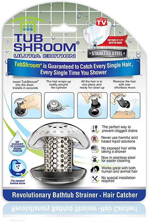 TubShroom® No Clogs! Gray Award-Winning Hair Catcher Drain Protector Strainer