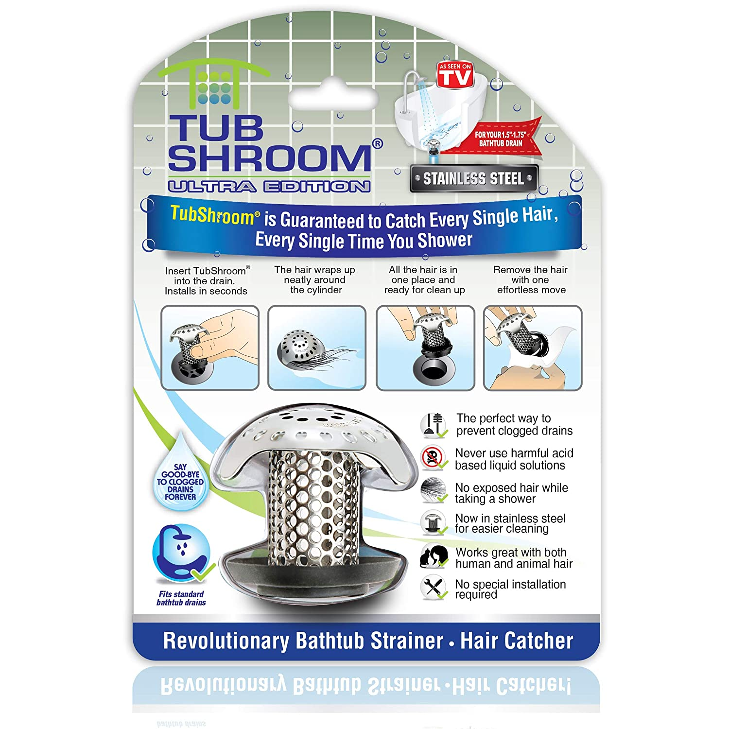 TubShroom Ultra Revolutionary Bath Tub Drain Protector Hair Catcher/Strainer/Snare Stainless Steel, Single Pack