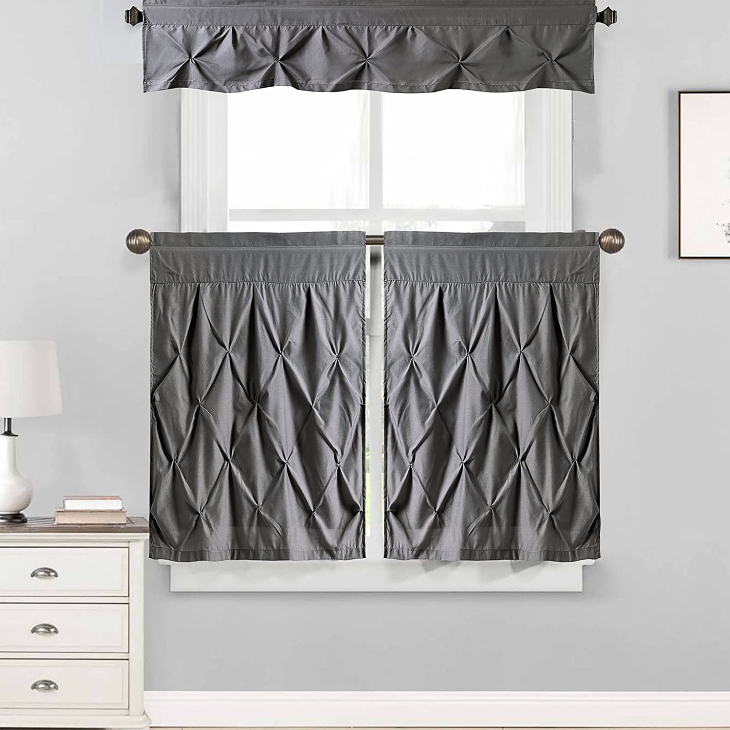 "Sweet Home Collection Choice of Valance, 24"" or 36"" Tier, and Kit Curtain Window Treatment, Tier & Valance, Gray"