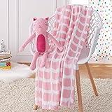AmazonBasics Kids Pink Kitties Patterned Throw Blanket with Stuffed Animal Cat