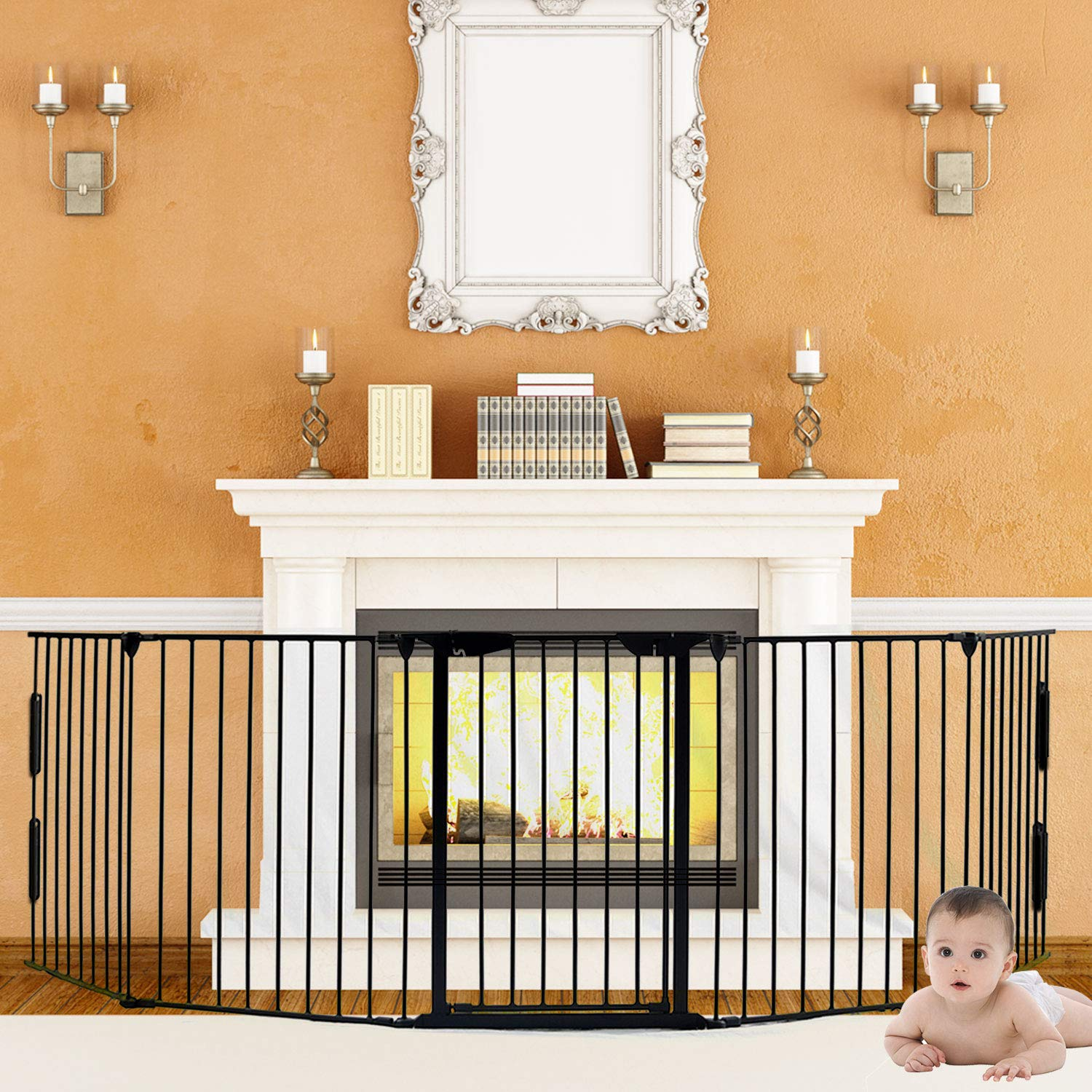 5-in-1 Fireplace Fence, Wide Barrier Gate Baby Safety Fence with Walk-Through Doo r in Two Directions Extra Wide Gate for Indoor/Pet/Dog/Christmas Tree Enclosure, Includes 4 Pack of Wall Mounts