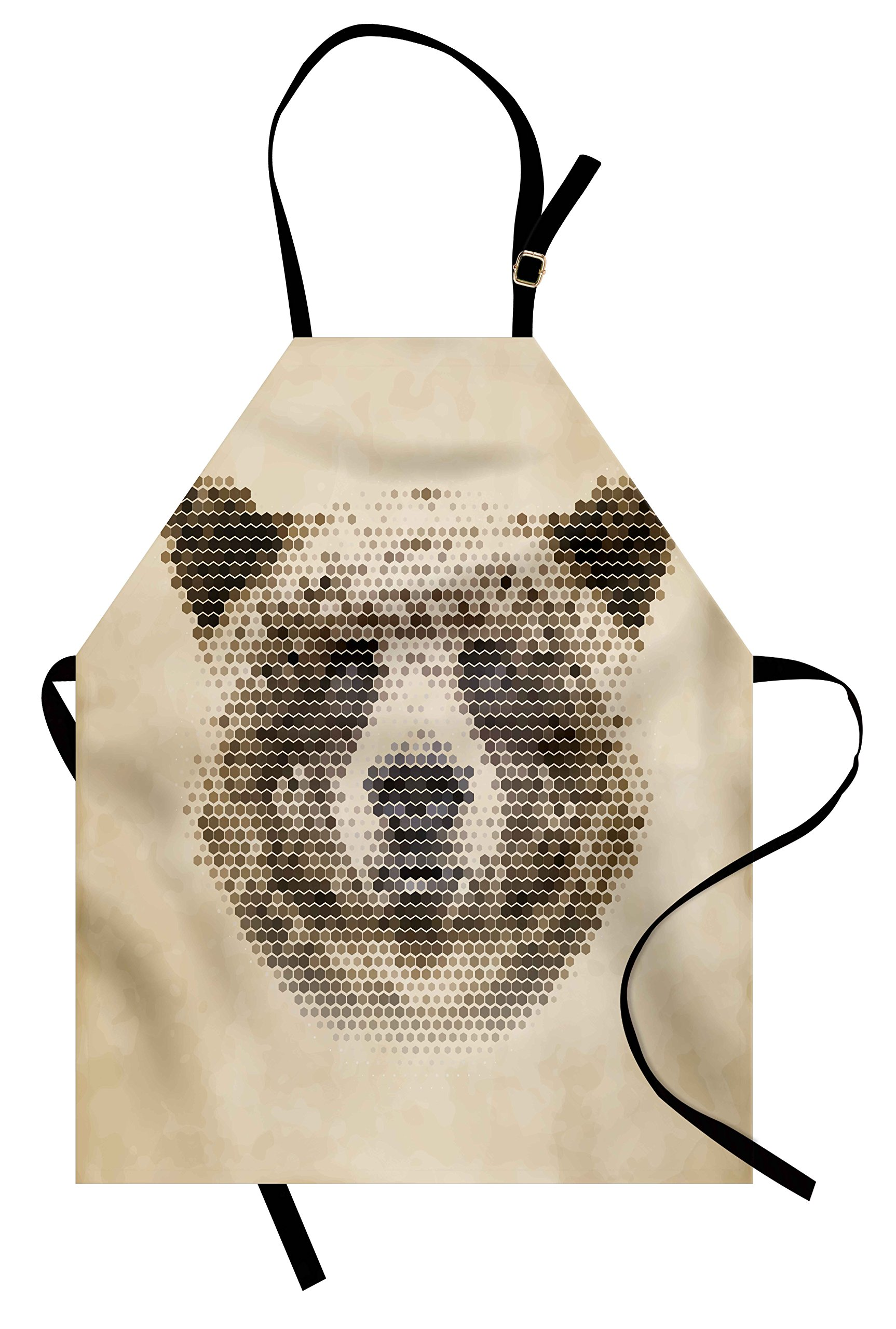 Ambesonne Bear Apron, Wild Animal Head with Hexagonal Dots Blurry Looking Portrait Vintage Geometric Modern, Unisex Kitchen Bib Apron with Adjustable Neck for Cooking Baking Gardening, Tan Brown
