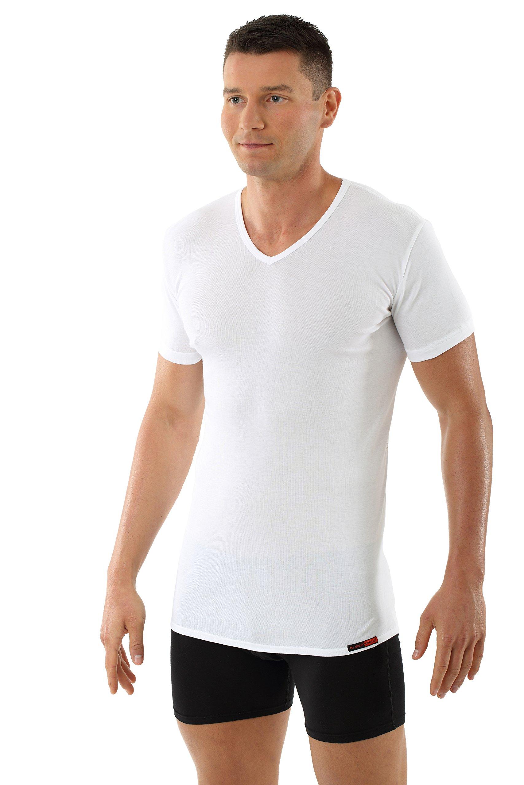 ALBERT KREUZ men's V-neck business undershirt with short sleeves 100% organic cotton white M