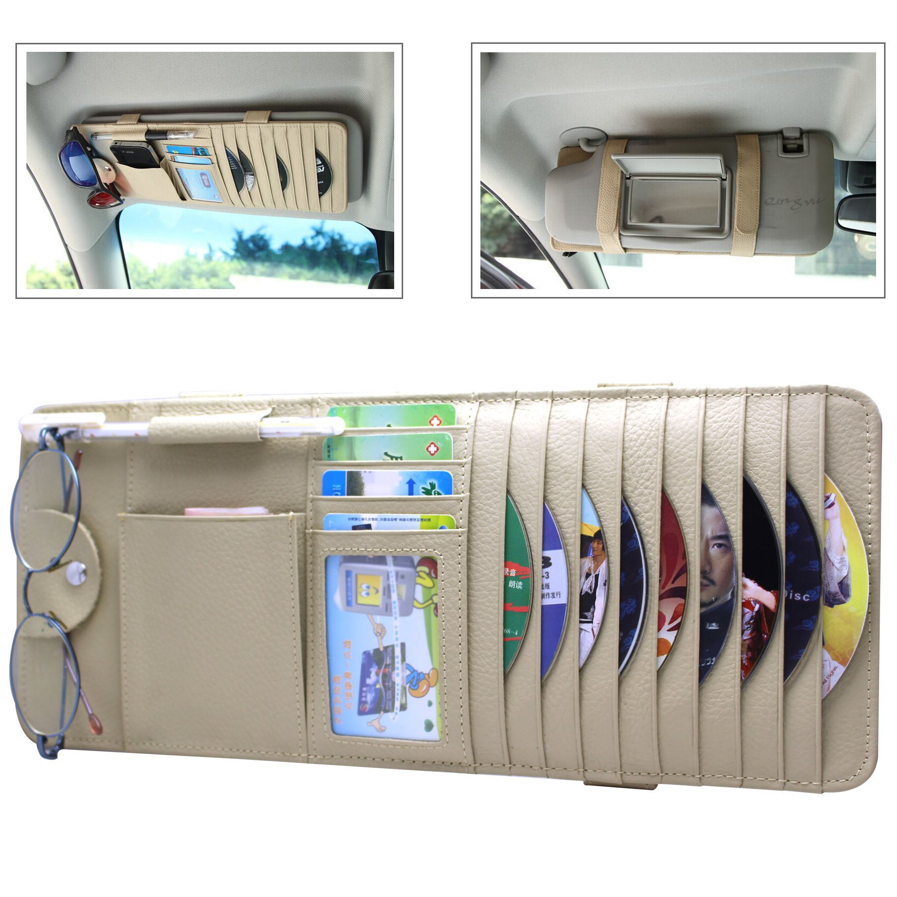 RAYSUN Gunuine Leather Auto Vehicle Sun Visor Organizer with 9 CD Slots + 4 Credit Card Pockets + 1 Glasses Holder + 1 Pen Holder + 1 Money Pocket