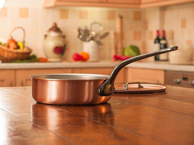 Falk culinair 24 cm sartén de cobre con mango de hierro fundido y cubierta a juego - 2,9 litros: Amazon.es: Hogar
