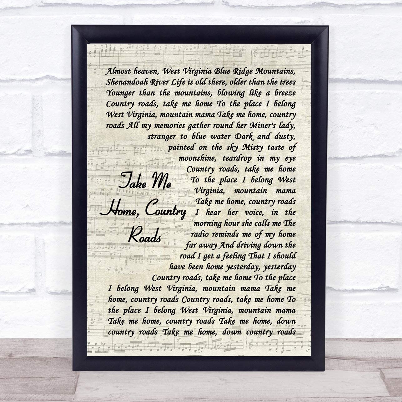 Take Me Home, Country Roads Vintage Script Song Lyric Quote Music Poster Gift Present Art Print