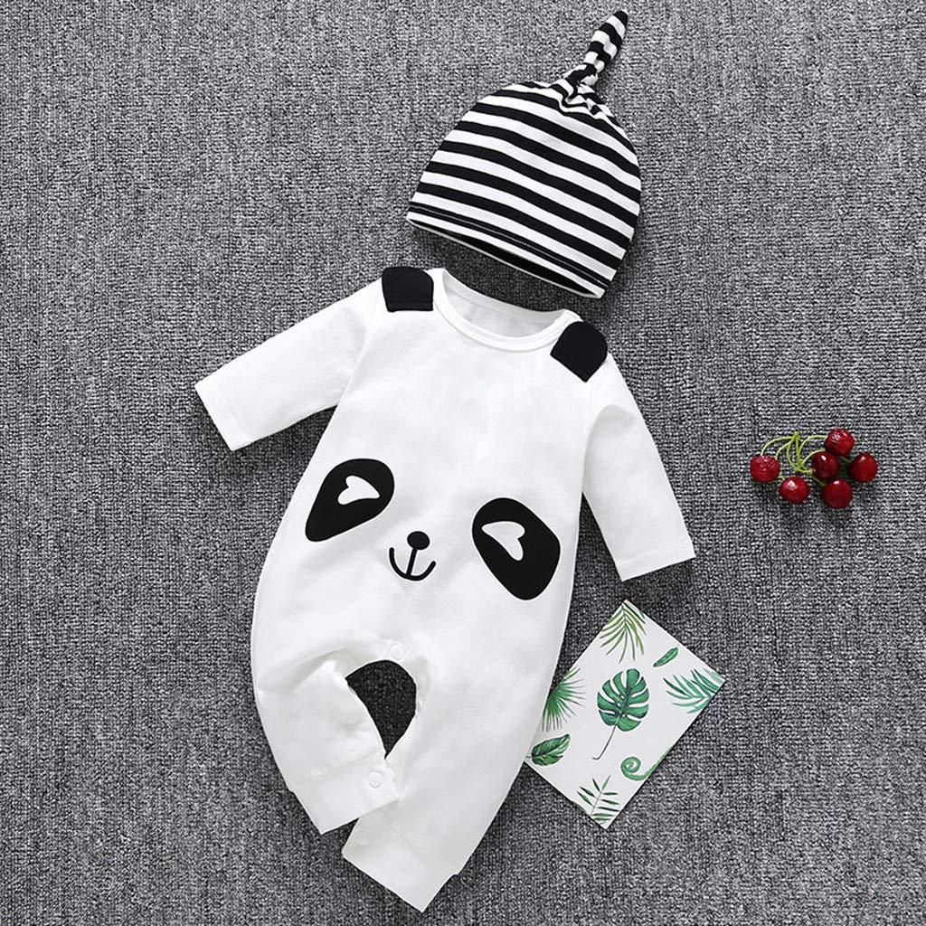 Arbtsmy Pyjama B/éb/é Combinaison 0-24 Mois Gar/çon Fille Bapteme /à Manches Longues Mignon Dessin Anim/é Panda Imprim/éS Barboteuse+Chapeau Ray/é Onesies Jumpsuit 2 Pcs