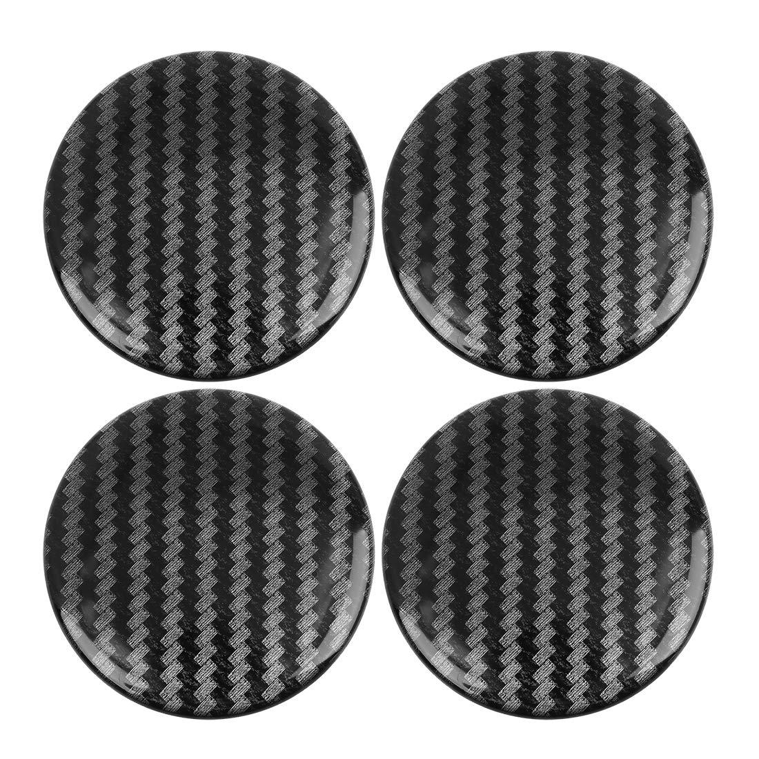 X AUTOHAUX 50mm Carbon Fiber Wheel Center Hub Cap Stickers Clear Resin 4pcs