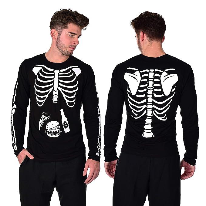 f37a59d6 Halloween Skeleton Costume Men's X-ray Tshirt Bones Glow in The Dark ...