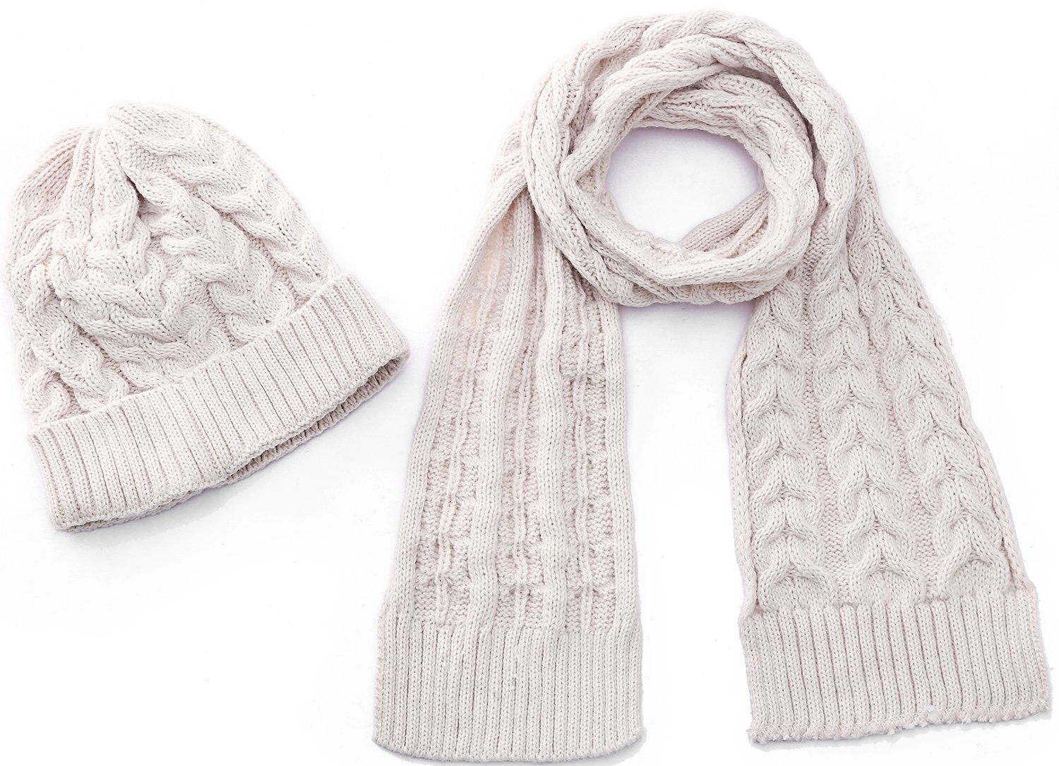 Kids Hat And Scarf Sets Beautiful Scarves With Warm Beanie Boys Girls Cream