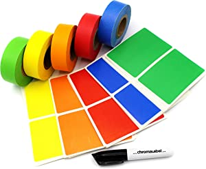 ChromaLabel Moving Buddy Kit Color-Code Label & Tape Pack, 150 Labels, 5 Rolls of Clean-Remove Tape, Permanent Marker