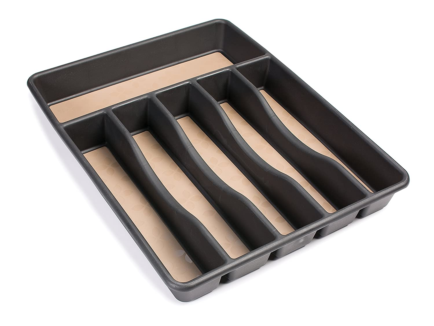 amazoncom rubbermaid noslip cutlery tray large black with tan flatware trays serving trays
