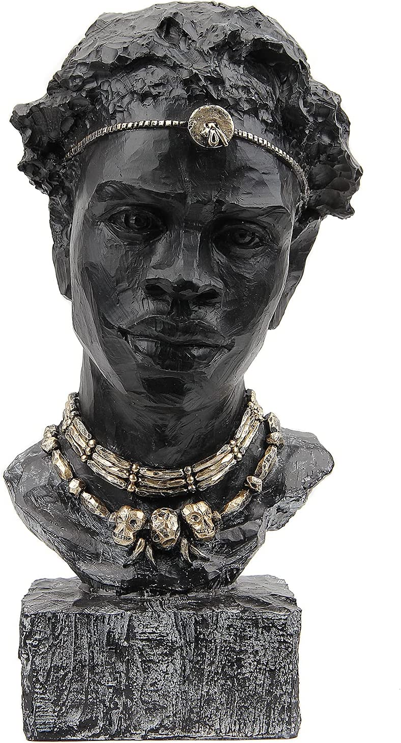 Leekung African Statues and Sculptures for Home Decor,African Figurines Head Statue Decorations for Home,African Art Sculptures Man Statue Decor for Living Room Antique Black Color