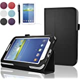 """SAVFY Samsung Galaxy Tab 3 7.0 7-inch Leather Case Cover and Flip Stand, Bonus: + Screen Protector + Stylus Pen + SAVFY Cleaning Cloth (for Galaxy Tab 3 7"""" INCH P3200/ P3210, WiFi or 3G+WiFi), NOT Suitable for Tab 3 7"""" Lite £¨T110£©(flip stand BLACK)"""