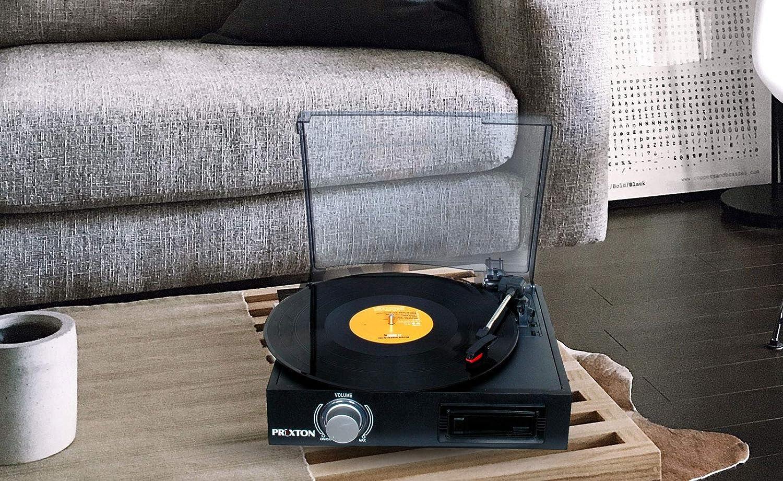 PRIXTON VC300 - Tocadiscos de Vinilo Vintage con Bluetooth, Reproductor y Convertidor de Vinilos y Cassetes a Mp3, Color Negro