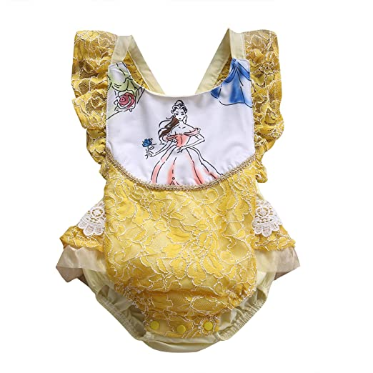 436cc11a5ef Amazon.com  ABEE Newborn Baby Girls Beauty and The Beast Ruffle Sleeve Romper  Bodysuit Jumpsuit Outfts Clothes  Clothing