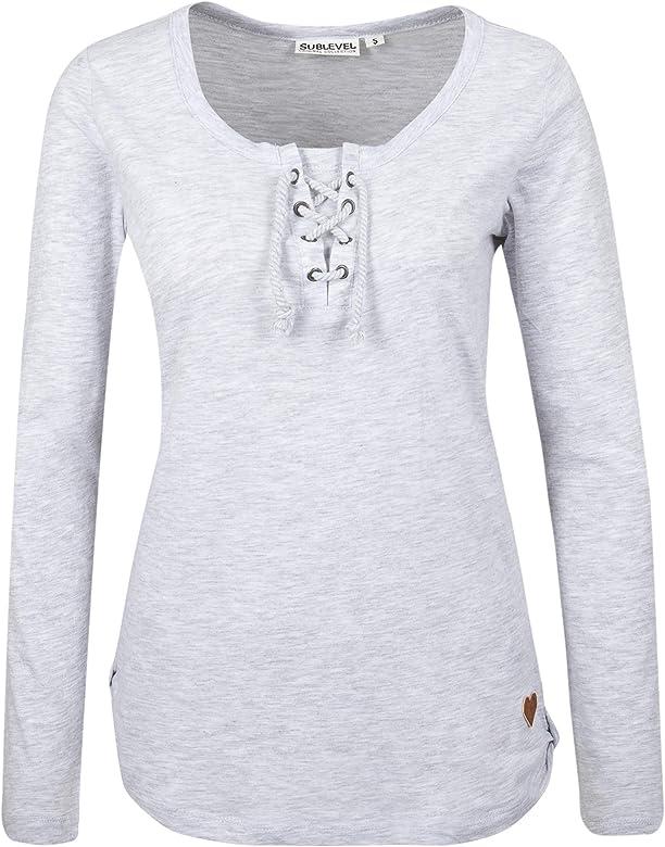 Sublevel Camiseta básica de Mujer Manga Larga con cordón Gris ...