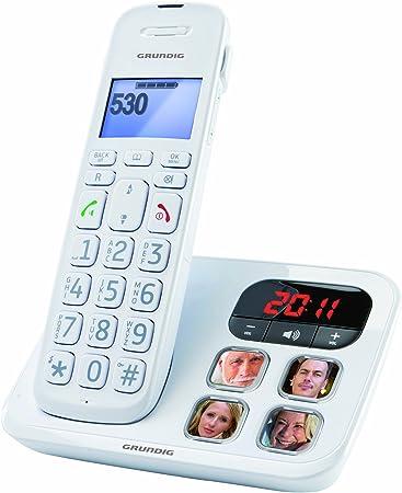 Grundig D530 P - Teléfono (DECT, Color blanco, Pared, 50 entradas): Amazon.es: Electrónica