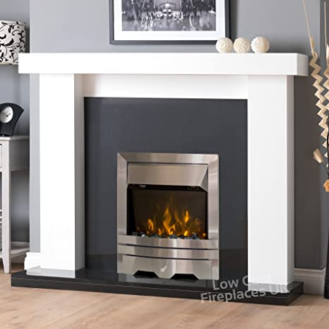 Superb Electric White Surround Black Silver Steel Led Flame Fire Download Free Architecture Designs Lectubocepmadebymaigaardcom