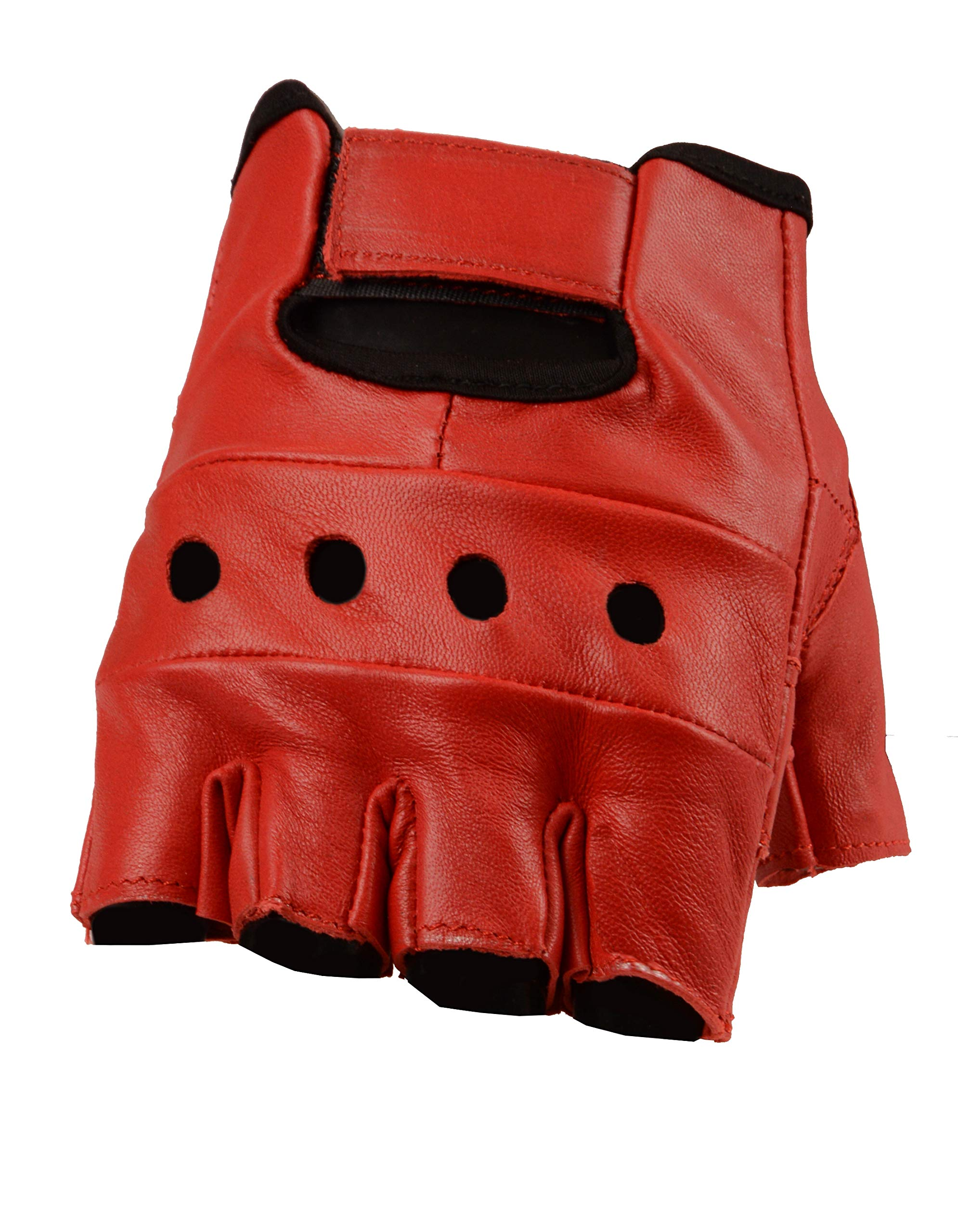 The Bikers Zone Women's Leather Fingerless Gloves, Soft Lambskin Leather (Red, M)