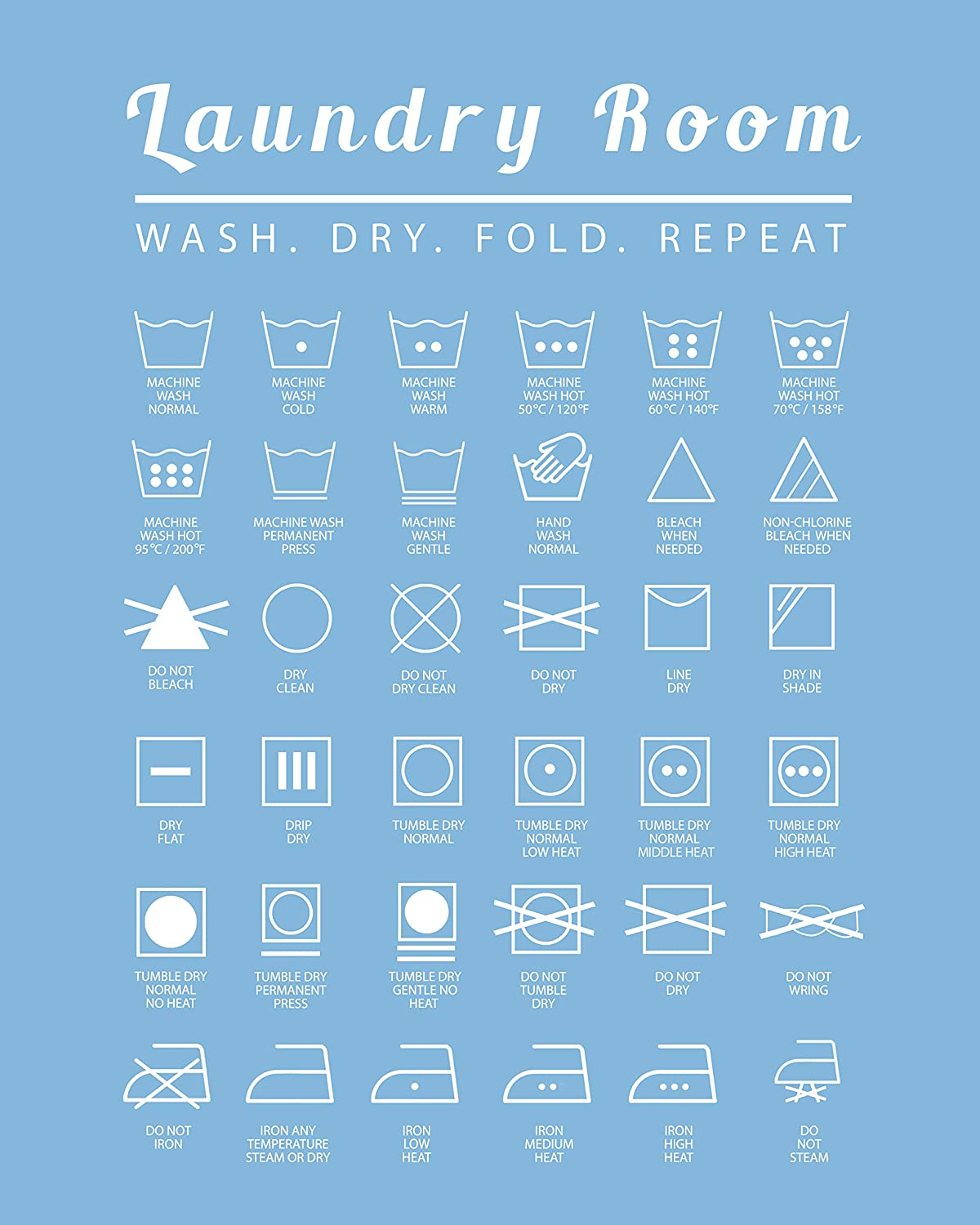 Laundry Room Wall Art Decor, 8x10 Poster Print - Unique Contemporary, Modern Home Decoration - Makes a Great Affordable Housewarming Gift - 8x10 Photo- Unframed - Teal Blue