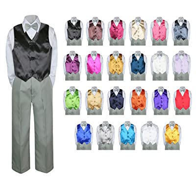 4PC Shirt Gray Pants Satin Vest Set Baby Boy Toddler Kid Formal Party Suit Sm-7
