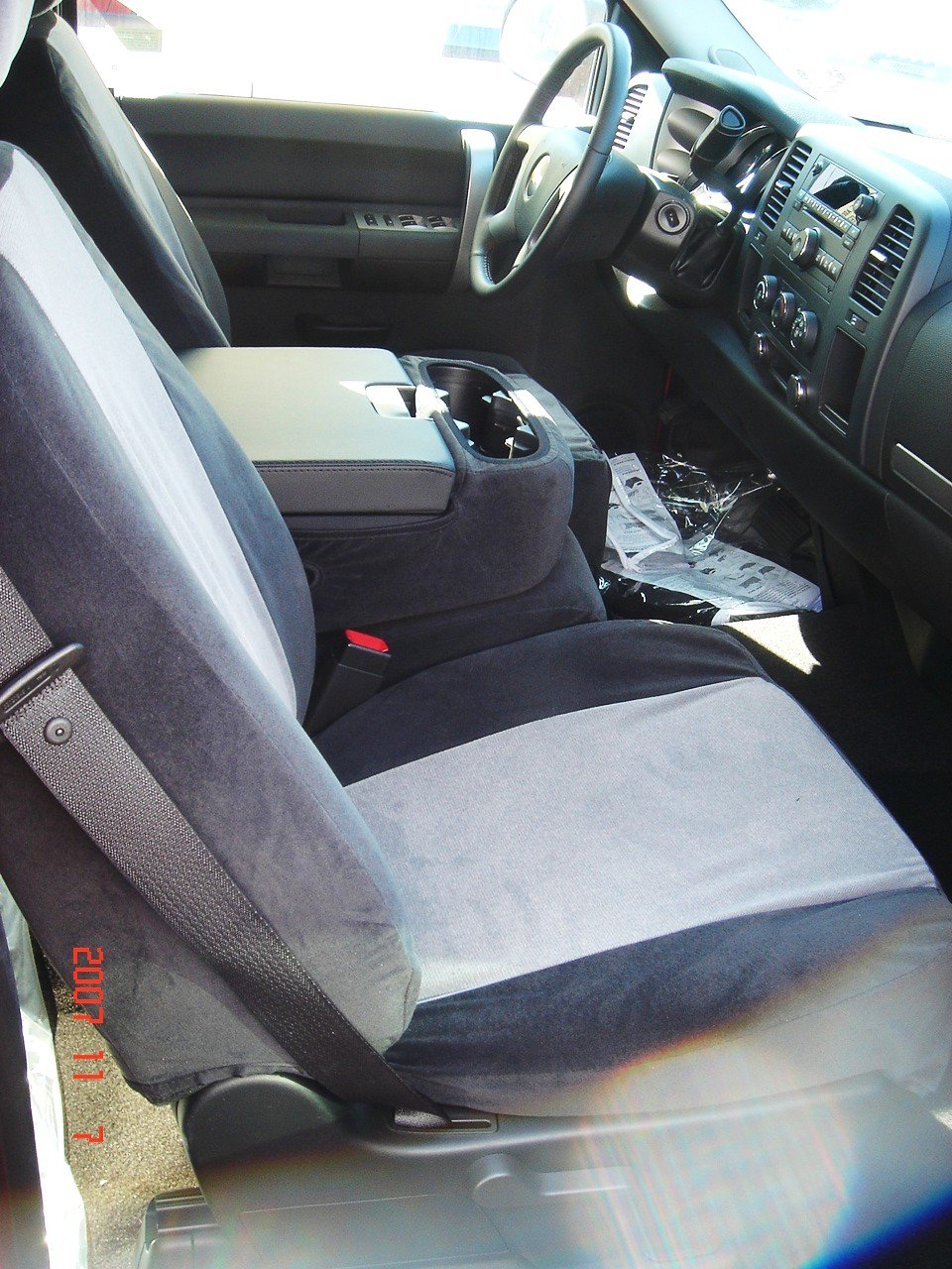 Durafit Seat Covers C1123-X1-H7-2007-2013 Chevy Silverado, Tahoe and GMC Sierra Front Bucket Seat Covers in Black Endura with Gray Airtex Inserts.