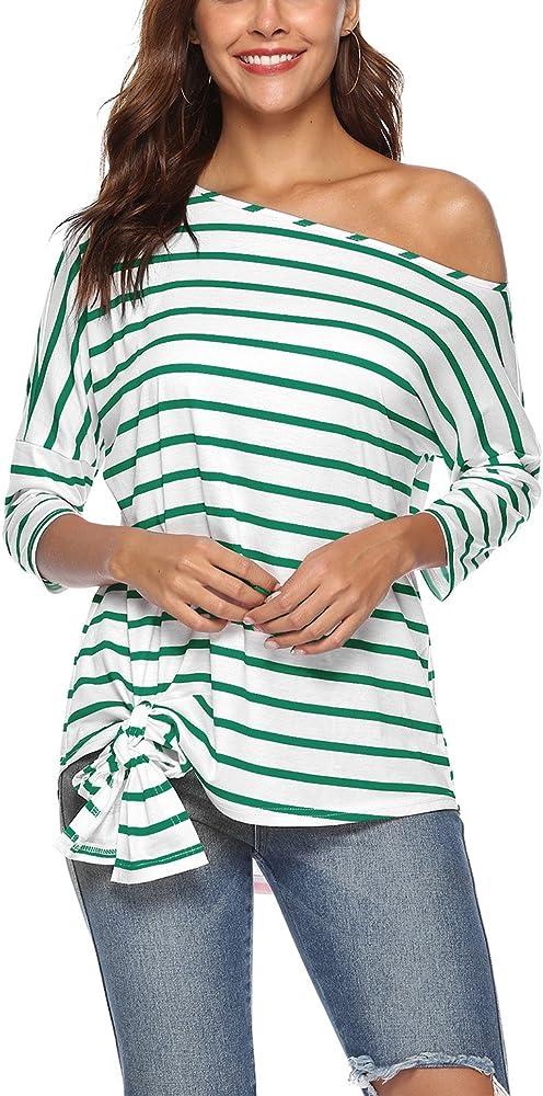 Mujeres Tops, Mujer Manga 3/4 Fuera del Hombro Plisado Nudo Asimétrico Dobladillo Casual Shirt Blusa Camisa Verde L: Amazon.es: Ropa y accesorios