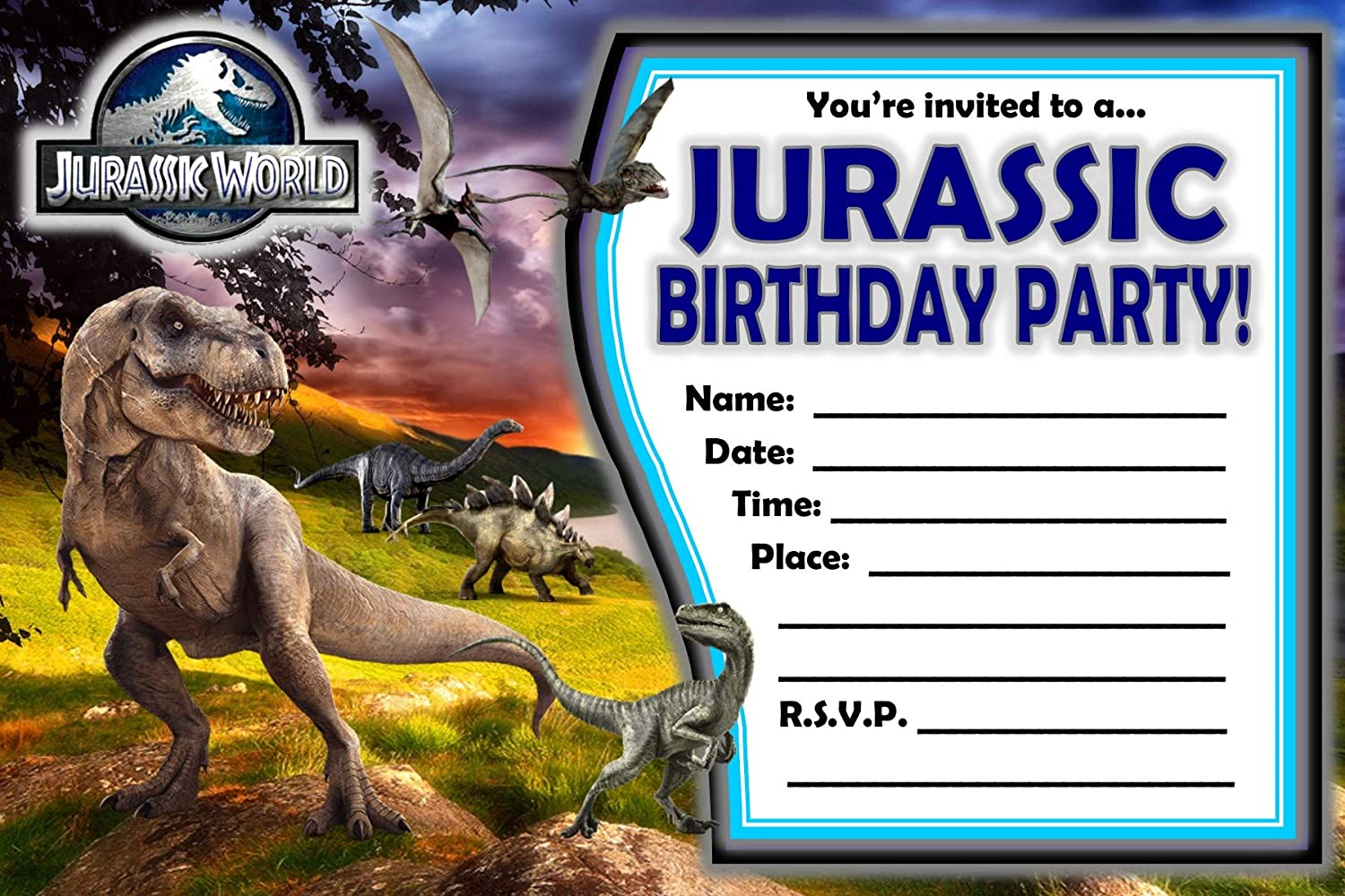 Amazon Com Juego De 12 Invitaciones De Jurassic World