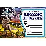12 JURASSIC WORLD Birthday Invitations 5x7in Cards Matching White Envelopes
