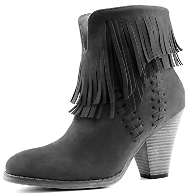 Amazon.com | DailyShoes Women's Double Fringe High Top Ankle ...
