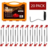 Heavy Duty Tent Pegs for Hard Ground with Carry Case-Pack of 20-