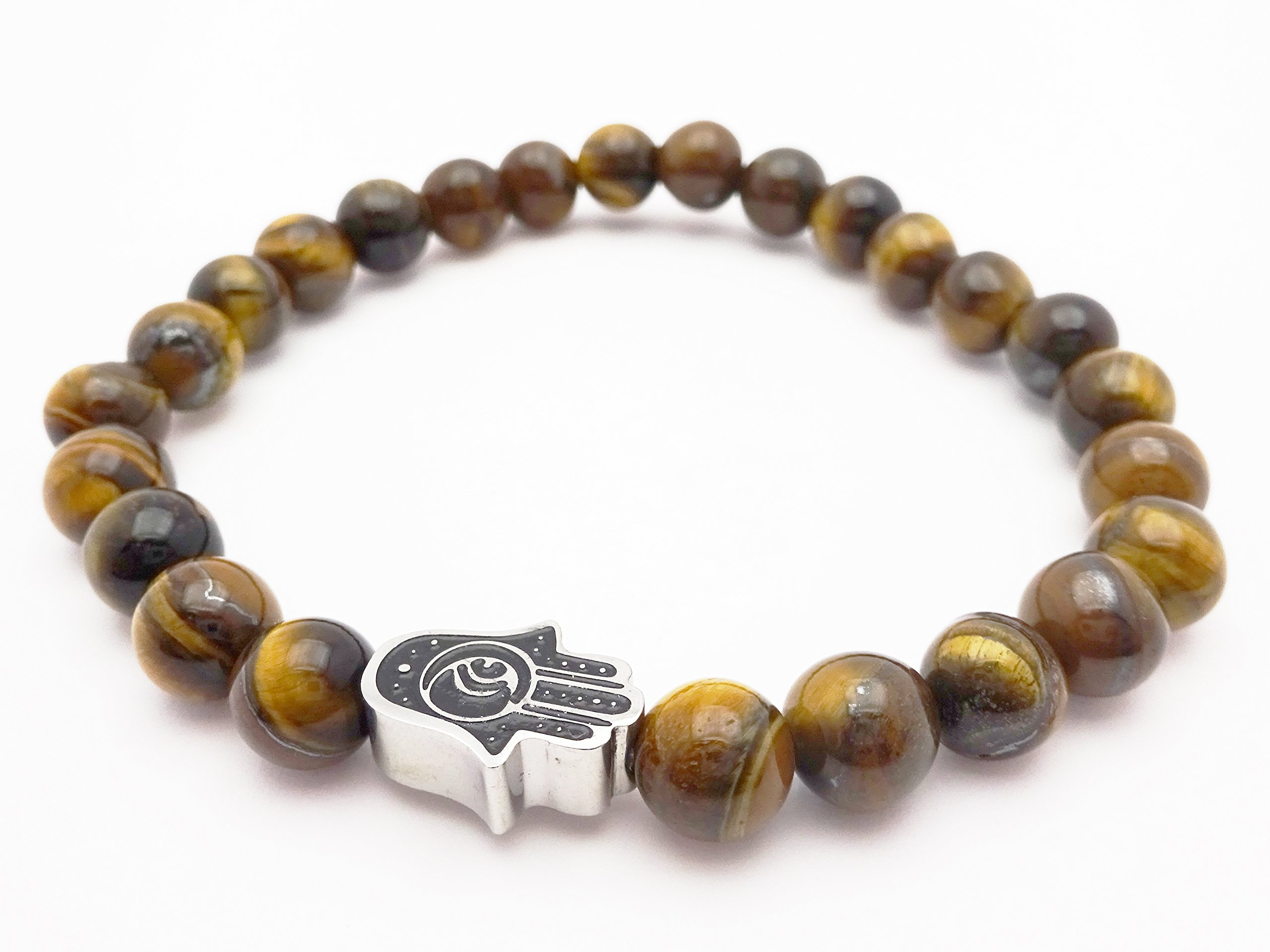 Eye of the Tiger Brown Bead Bracelet with Hamsa