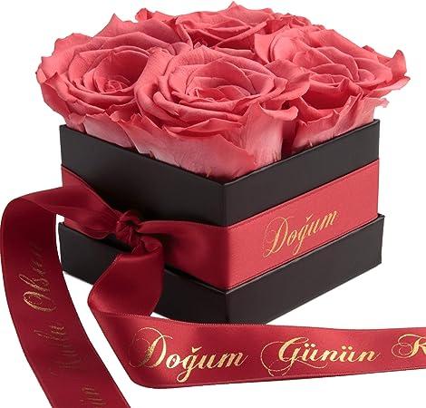 Boite A Roses Flowerbox Infinity Se Conserve 3 Ans Cadeau D Anniversaire Pour Femme Dogum Gunun Kutlu Olsun Koral Amazon Fr Jardin