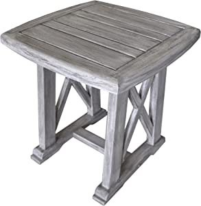 Courtyard Casual Driftwood Gray Teak Surf Side Outdoor Side Table