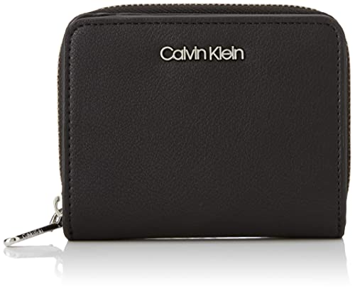 3c18869a43 Calvin Klein Stitch Med Zip W/flap, Women's Wallet, Black,  2.2000000000000002x19x9