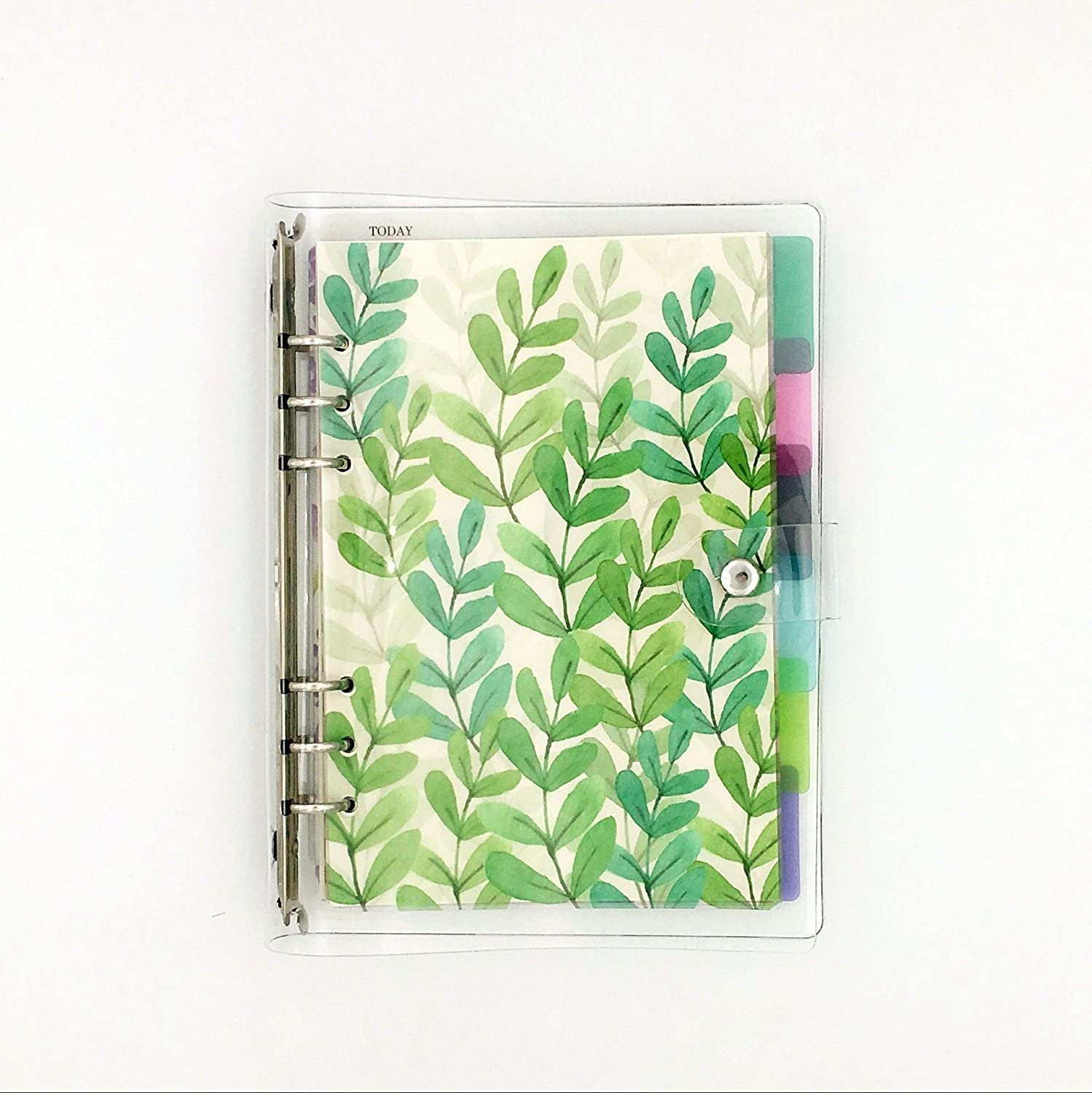 A5 6-Ring Loose Leaf Binder Journal w/ 80 Insert Pages(Dot Grid/Square Grid/Ruled/Blank) + 6 Index Divider Tabs + 1 Clear Page Maker + 1 Ziplock Pouch Included, Refillable