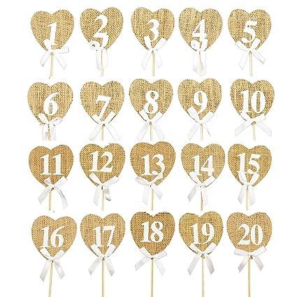 Numeri Da Tavolo Per Matrimoni Vintage 1 20 Decorazione Per Tavolo Con  Forma Di Cuori