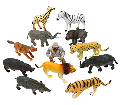 Amazon Com Sn Incorp Plastic Zoo Animals Toys Set For Kids Party